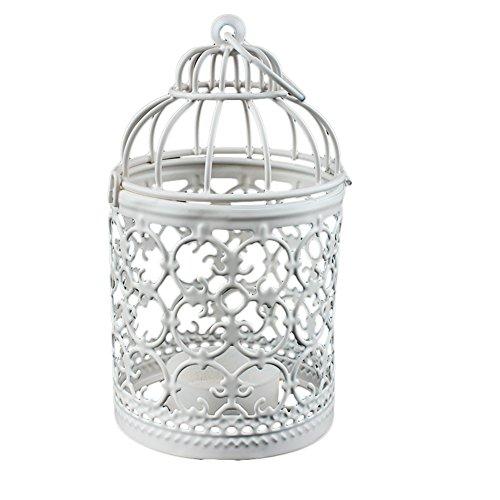 Qinlee Kerzenhalter/Laterne aus Eisen Vintage-Stil Klassischer Europäischer Stil Nostalgischer Deko Landhausstil Geschenk Blumenkäfig Kerzenständer