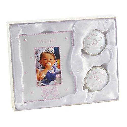 Süßes Geschenkset zur Taufe für Mädchen - Locken- / Zahndose und Bilderrahmen