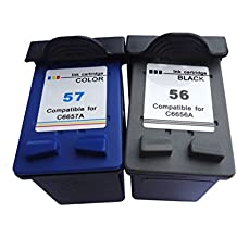 Ink_seller 56 57 C6656AE C6657AE (2-Pack Negro Tricolor) Cartuchos de Tinta Remanufacturado Para HP Deskjet HP Photosmart Imprimantes tout-en-un HP Officejet