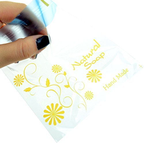 Soap Gift Bags Plastic Bags Yellow Natural Soap Self Adhesive Cellophane Bag 11.5cmx11.5cm+4cm 50sheet by CHAWOORIM
