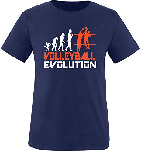 EZYshirt® Volleyball Evolution Herren Rundhals T-Shirt Navy/Weiss/Orange