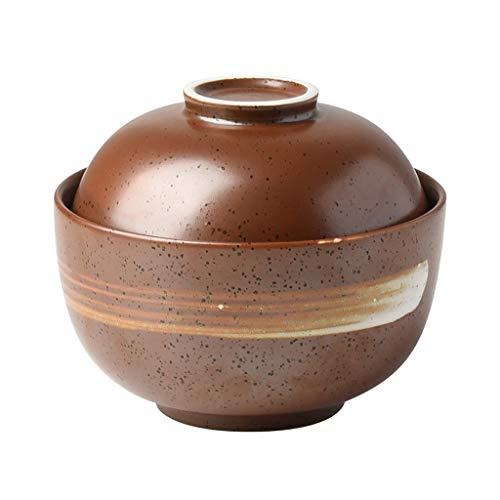 Bols mélangeurs Bol en Céramique Bol À Soupe Japonais Bol avec Couvercle Bol pour Bébé Style Classique Polyvalent Marron Céramique Vaisselle Essentielle Cadeau Bols mélangeurs