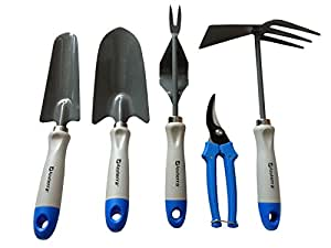 Gardening tools 5 piece garden tool set trowel for Gardening tools on amazon