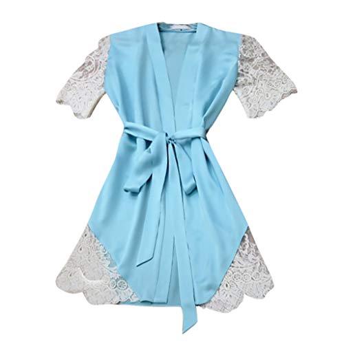 Anglewolf Nachtwäsche Damen Morgenmantel Kimono Robe Kurze Bademantel Spitze Für Frauen V Ausschnitt Roben Mit Blumenspitze Sleepwear kostüm Schlafanzug Nachthemd Negligee S-3XL