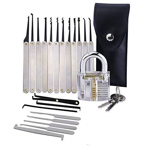 Lockmall Juego de selección de cerradura de 20 piezas, kit de herramientas de selección de cerradura de tarjeta de crédito y candado de formación transparente y cerrajero profesional
