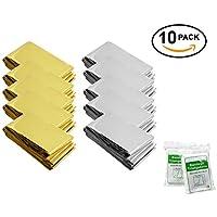 GoalSteps Mantas de Emergencia(Paquete de 10)Tamaño grande:210 X160cm, diseñado con hasta un 90% de retención de calor, Color:Dorado & Plata