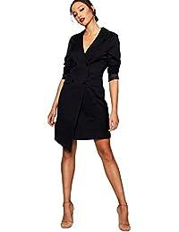 Damen Schwarz Plus Alicia Blazer-Kleid mit asymmetrischer wicklung a6e9472179