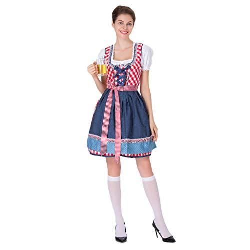 Bier Zombie Mädchen Kostüm - LISM Damen Oktoberfest Halloween Kostüm Frauen Bierfest Bayerisches Bier Mädchen Cosplay Abendkleid Langes Kleid Minirock Karneval Party Outfit