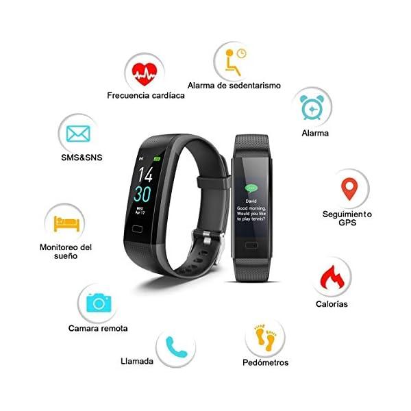 iWalker Smart Pulsera Fitness Tracker, Pulsera Actividad de Frecuencia Cardíaca, Impermeable IP68, Podómetro Deportiva… 3