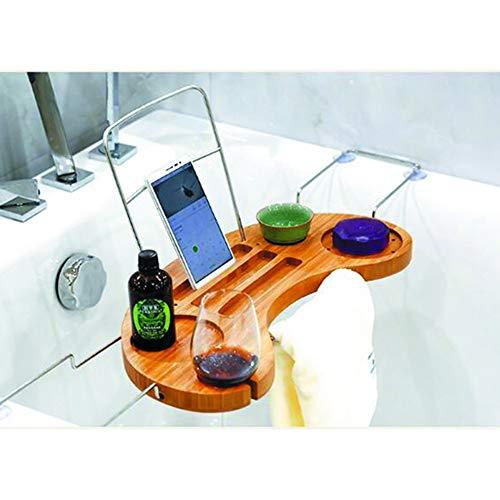 YQQ-Regal Badewannenständer Bambus Badewanne Caddy Badezimmerständer Über Dem Wannenspeicherbehälter Haushalt Einziehbar Badeartikel Lager (Bambus über Wc Speicher)