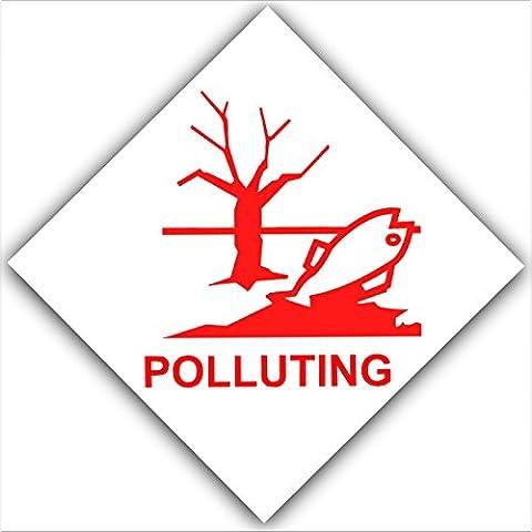 6x polluantes–Rouge sur blanc, Externe autocollant d'avertissement stickers-pollution sign-fishing Santé et sécurité de Lac, d'eau, de pêche, Danger