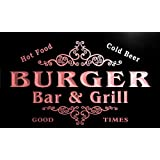 u06128-r BURGER Family Name Bar & Grill Cold Beer Neon Light Sign Enseigne Lumineuse