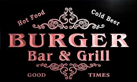 u06128-r BURGER Family Name Bar & Grill Cold Beer Neon Light Sign Barlicht Neonlicht Lichtwerbung (Burger Bar)