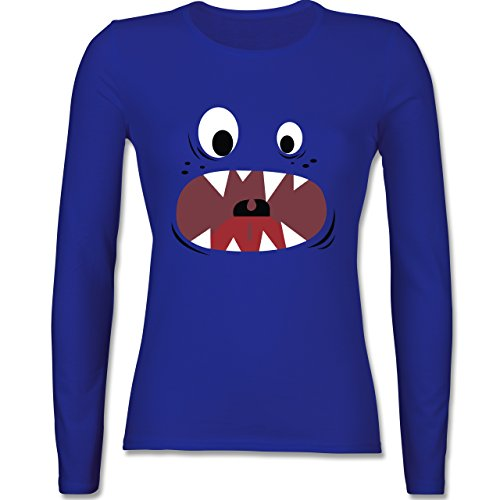 & Fasching - Monster Gesicht Kostüm 3 - XS - Royalblau - BCTW013 - Damen Langarmshirt (Monster Uni Kostüme)