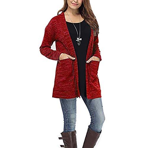 Sasstaids heißes Mantel Jacke,Frauen Langarm Taschen Tops Bluse Lose Lange Strickjacke Mantel Jacke Outwear