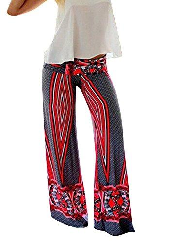 Moollyfox Donne Eleganti Confortevole Alte Multicolore Della Donne Della Vita Anca Pantaloni Lunghi Svasati Come Immagine L