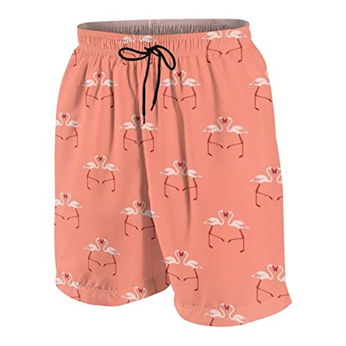 vcbndfcjnd Pink Flamingoes On Coral Boys Beach Shorts Quick Dry Beach Swim Trunks Kids Swimsuit Beach Shorts,Boys' Assist Basketball Shorts M