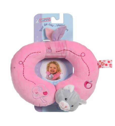 Gipsy Accessoire - Cuscino da collo per seggiolino da auto, a forma di gatto, con motivo mele, 24 cm, colore: Rosa