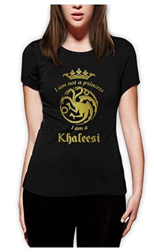 Game I'm Not A Princess I'm A Khaleesi Thrones GOT Damen Schwarz Small T-Shirt Slim (Khaleesi Aus)