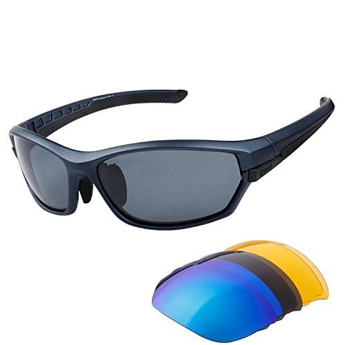 Duco Men's Aviator stile classico polarizzato occhiali da sole 3025 (nero telaio grigio lente) mXAqzN