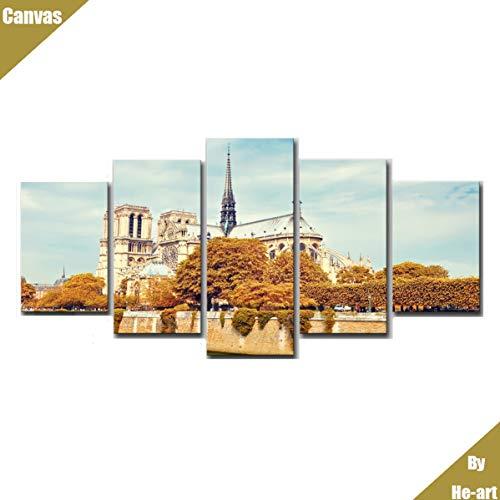 Notre-dame-artwork (Notre Dame de Paris Bild Artwork Leinwand gedruckt Malerei Stadt Landschaft Poster bereit, um 5 gerahmte Comtemporary Home Dekoration gotische mittelalterliche Architektur Souvenir)