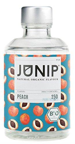 Pfirsich Sirup ohne Zucker von JUNIP   Ideale glutenfreie Lebensmittel um Wasser Geschmack, Tee oder Cocktails zu pimpen   100% BIO & Natürlich (Tropfen Minze Zitrone)