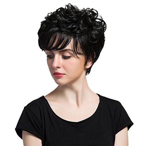 Sharplace Stilvolle Damen Schwarz Kurze Perücke Natürlich gelockte Perücken aus Echt Menschliche Haare, Hitzebeständig, Cosplay Party Wig (Menschliche Haare Perücken)