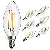 Antik LED Glühbirne, E12Sockel 2700K 4W 30Watt Vintage Edison LED Kronleuchter Leuchtmittel LED Candelabra Glühbirne, dimmbar LED Kerze Filament Wolfram Glühbirne für Zuhause, Küche, Esszimmer, Schlafzimmer, Wohnzimmer, warmweiß, 6Stück, E12, 4.00 W 220.0 voltsV