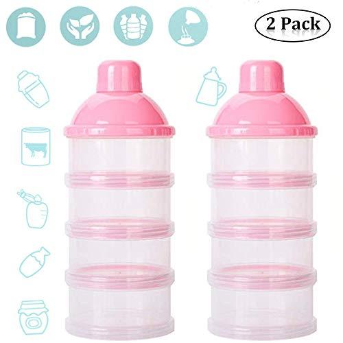 4 Schicht Milch Pulver Spender, Formel Milchpulver-Portionierer,Säuglingsnahrung Kasten,Tragbare Milchkasten,Milchpulver-Portionierer,Milchpulver Box,Milchpulverspender(2 Stück ,BPA-frei) (Pink)
