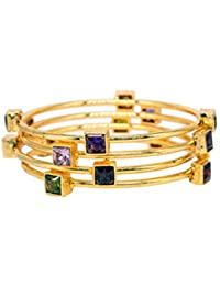 DeAaaStyle Fashion Gold Plated Set Of 4 Bangles For Women And Girls For Traditional Wedding With Stone Size 2.8