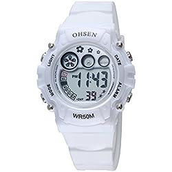 OHSEN Kids Multifunction Sport Watch Digital Backlight Wristwatch Waterproof 1508 - White