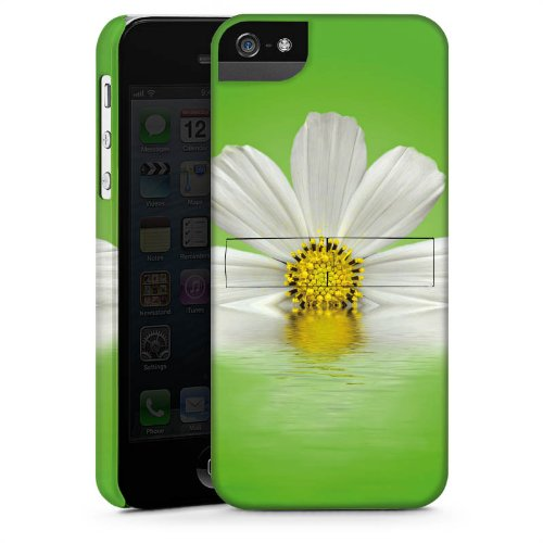 Apple iPhone 4 Housse Étui Silicone Coque Protection Pâquerette Fleur Fleur CasStandup blanc