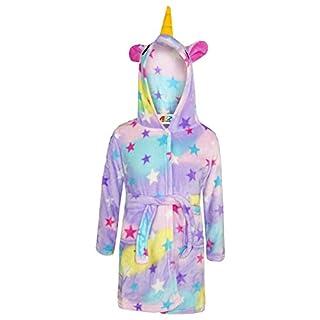A2Z 4 Kids Unisex Animal Soft Short Hooded Fleece Unicorn Cosplay Dressing Gown - Bathrobe Unicorn,Stars Print,9 - 10 Years
