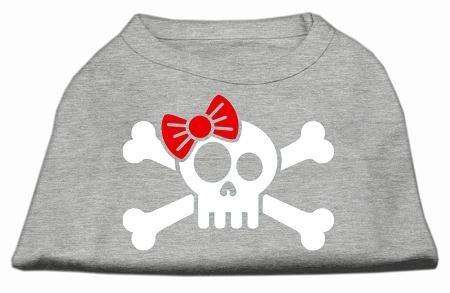 Mirage Pet Products Schädel Gekreuzten Knochen Schleife Bildschirm Print Shirt, Large, Grau -