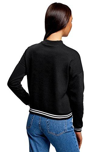 oodji Ultra Damen Sweatshirt mit Druck und Kontrastbesatz Schwarz (2910P)
