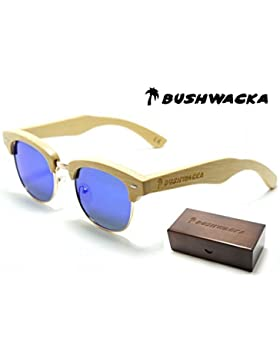 Nuevo Bushwacka Madrid Azul Señoras Polarizado Hecho a mano De madera Gafas de sol