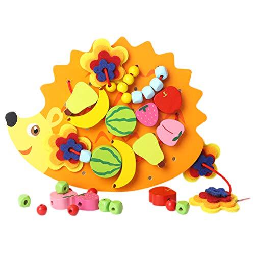 (YeahiBaby Holzschnur Perlen Spielzeug Obst und Gemüse Schnürung Perlen Spielzeug Bildung Lern Spielzeug)