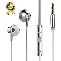 Auriculares con Cable y Micrófono In Ear Headphone Sonido Estéreo 3.5mm Compatible con iPhone, iPad, iMac, Smartphones Samsung Galaxy S6, S6 Edge,A6, S5, S4, Huawei, XiaoMi, Reproductor MP3, etc