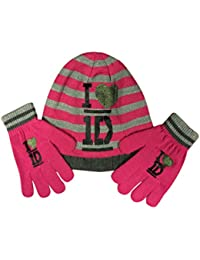 1D One Direction Girls warm thick Hat & Gloves Set Pink One size Age 4-8 Years