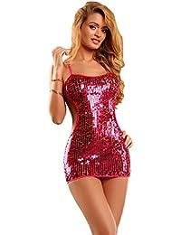 saphira mode. Rosa Minikleid . Pailletten. Rücken und Schultern nackt. String enthalten. Geeignet für die Größen S bis L