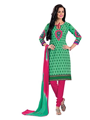 Vibes Women's Pure Cotton Straight Fit Un Stitched Salwar Kameez(V69-7_Green)