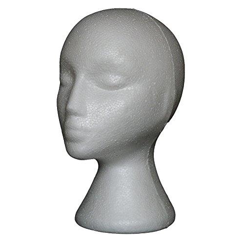 (SpirWoRchlan Modellkopf, weiblich, aus Schaumstoff, Styroporkopf, Brillenständer, Ständer für Perücken, Kopfhörer, Mützen (weiß, 1 Stück))