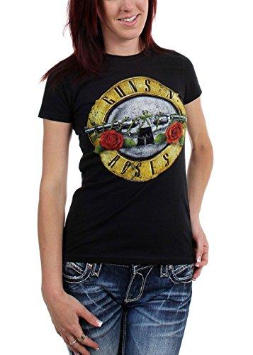Guns n Roses - - Bullet camiseta apenada de las mujeres, negro, X-Large