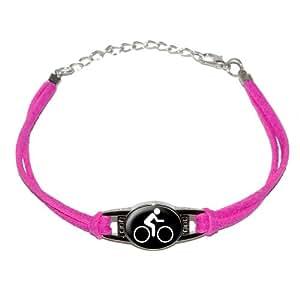 Biking Symbol - Cycling - Novelty Suede Leather Metal Bracelet - Pink