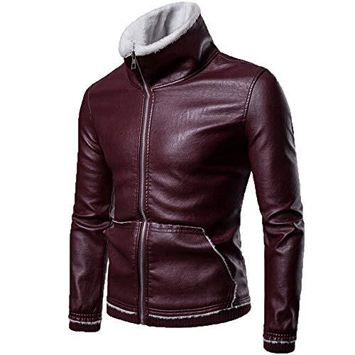 TWBB Herren Bekleidung Winter Warme PU Verdickt Coat Mantel Outwear hoher Kragen Oberteile Sweatshirt Mit Reißverschluss