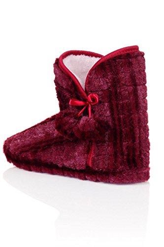 Damen Mädchen Kunstpelz Warm Bequem Knöchel Hausschuhe Stiefel Weinrot