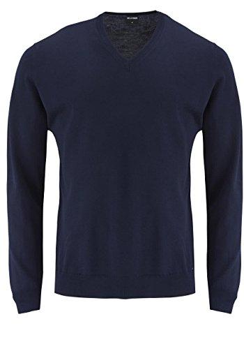 OLYMP Strick Pullover V-Ausschnitt extrafeine Merinowolle mittelrot Darkblue