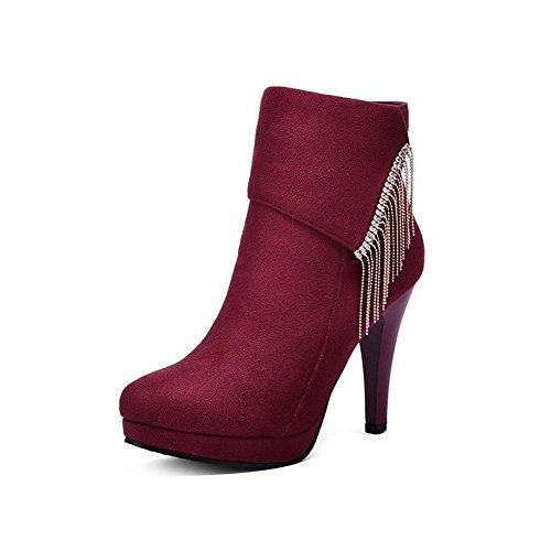 AgooLar Damen Niedrig-Spitze Reißverschluss Eingelegt Mattglasbirne Stiefel mit Anhänger Weinrot