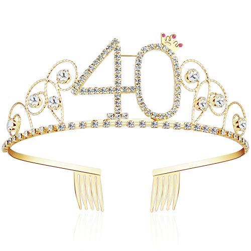 Kostüm 40er Jahre - ArtiDeco Kristall Geburtstag Tiara Gold Birthday Crown Prinzessin Kronen Haar-Zusätze Gold Diamante Glücklicher 16/18/20/21/30/40/50/60/70/80/90/100 Geburtstag (40 Jahre alt)