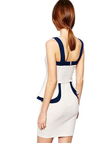 JOTHIN Damen Bodycon Schulterfrei Kleid Festkleid V-ausschnitt Etuikleider ärmellose Rückenfreie Bleistiftkleid Partykleid Knielang Weiß